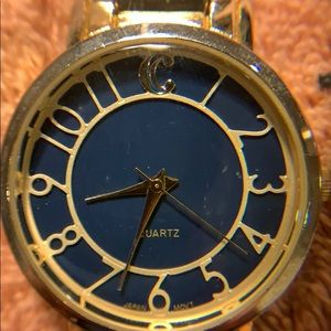 Charming Charlie gold and blue metallic watch